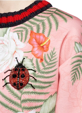 Detail View - Click To Enlarge - Gucci - Stripe rib embellished tropical print scuba jersey sweatshirt