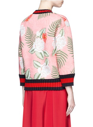 Back View - Click To Enlarge - Gucci - Stripe rib embellished tropical print scuba jersey sweatshirt