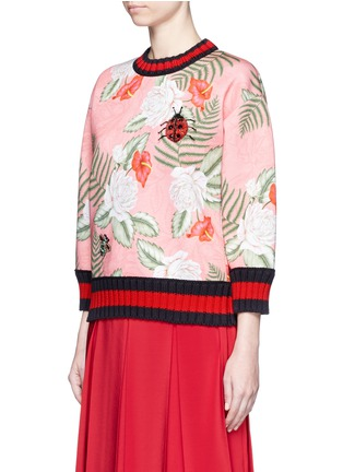 Front View - Click To Enlarge - Gucci - Stripe rib embellished tropical print scuba jersey sweatshirt