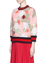 Stripe rib embellished tropical print scuba jersey sweatshirt