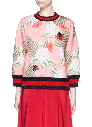 Main View - Click To Enlarge - Gucci - Stripe rib embellished tropical print scuba jersey sweatshirt
