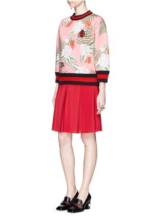 Figure View - Click To Enlarge - Gucci - Stripe rib embellished tropical print scuba jersey sweatshirt