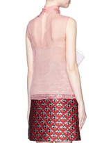 Pussybow silk organza sleeveless blouse