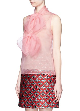 Front View - Click To Enlarge - Gucci - Pussybow silk organza sleeveless blouse