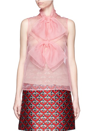 Main View - Click To Enlarge - Gucci - Pussybow silk organza sleeveless blouse