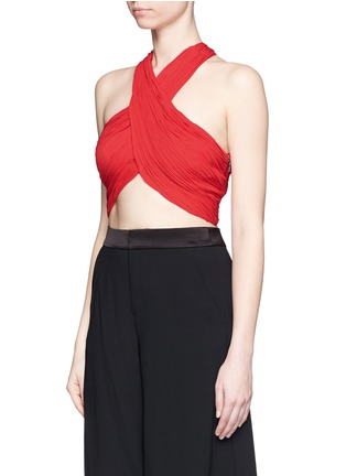 Front View - Click To Enlarge - alice + olivia - 'Tracee' drape georgette cropped halter top