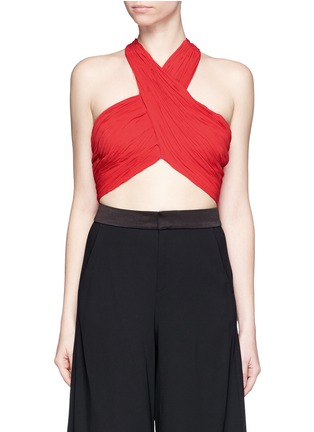 Main View - Click To Enlarge - alice + olivia - 'Tracee' drape georgette cropped halter top