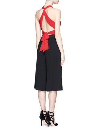 Figure View - Click To Enlarge - alice + olivia - 'Tracee' drape georgette cropped halter top