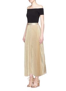 ALICE + OLIVIA'Katz' metallic jacquard pleated maxi skirt