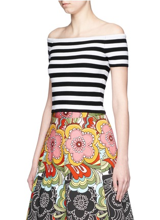 Front View - Click To Enlarge - alice + olivia - 'Grant' stripe knit off-shoulder top
