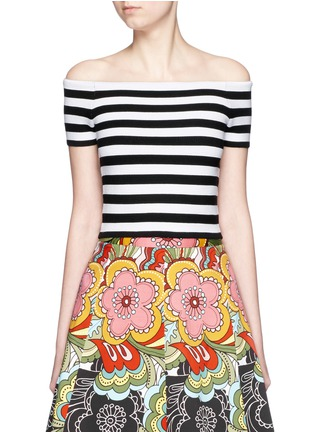 Main View - Click To Enlarge - alice + olivia - 'Grant' stripe knit off-shoulder top