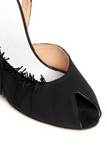 Fringe peep toe slingback suede sandals