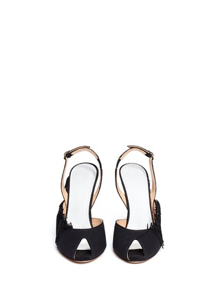 Front View - Click To Enlarge - Maison Margiela - Fringe peep toe slingback suede sandals