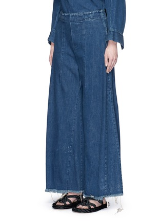 Front View - Click To Enlarge - Chloé - Acid wash frayed denim wide leg pants