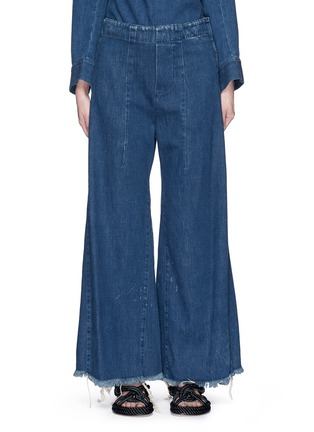 Main View - Click To Enlarge - Chloé - Acid wash frayed denim wide leg pants