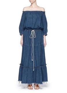 CHLOÉTiered ruffle off-shoulder drawstring denim maxi dress