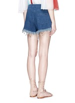 Acid wash frayed denim shorts
