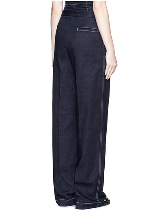 Back View - Click To Enlarge - Stella McCartney - 'Elsmere' contrast stitch raw denim wide leg pants