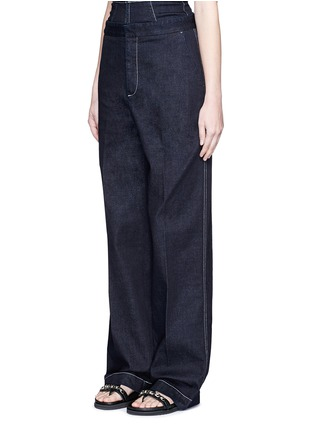 Front View - Click To Enlarge - Stella McCartney - 'Elsmere' contrast stitch raw denim wide leg pants