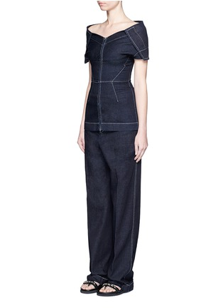 Figure View - Click To Enlarge - Stella McCartney - 'Elsmere' contrast stitch raw denim wide leg pants