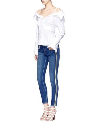 Figure View - Click To Enlarge - Stella McCartney - Dark wash stripe denim skinny pants