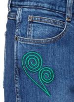 Swirl heart embroidery dark wash boyfriend jeans