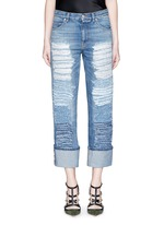 Distressed patchwork straight leg jeans
