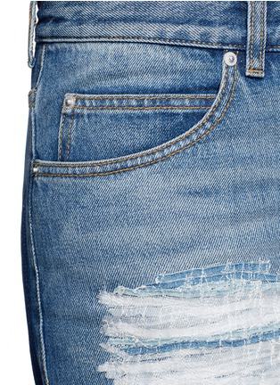 Detail View - Click To Enlarge - Alexander McQueen - Distressed patchwork straight leg jeans