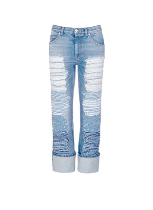 Main View - Click To Enlarge - Alexander McQueen - Distressed patchwork straight leg jeans