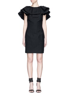 LANVIN Lace back ruffle neckline dress