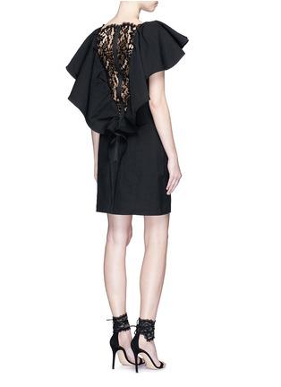 Lanvin-Lace back ruffle neckline dress