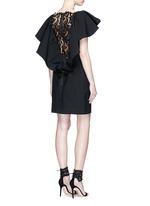 Lace back ruffle neckline dress