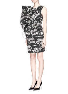 LANVIN Ruffle graffiti logo jacquard sleeveless dress