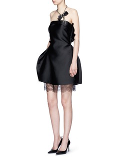 LANVIN Lace underlay duchesse satin dress