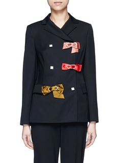 LANVIN Crystal pavé clasp bow appliqué wool jacket