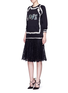 LANVIN 'LOVE' frayed trim embellished French terry sweatshirt