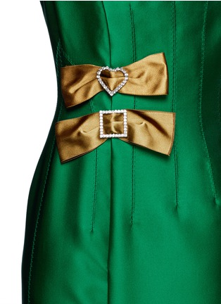 Detail View - Click To Enlarge - Lanvin - Crystal pavé clasp bow tech satin dress