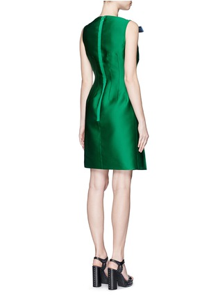 Back View - Click To Enlarge - Lanvin - Crystal pavé clasp bow tech satin dress
