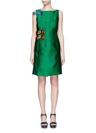 Main View - Click To Enlarge - Lanvin - Crystal pavé clasp bow tech satin dress