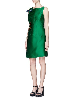 Figure View - Click To Enlarge - Lanvin - Crystal pavé clasp bow tech satin dress