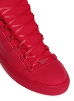 Gradient suede leather high top sneakers