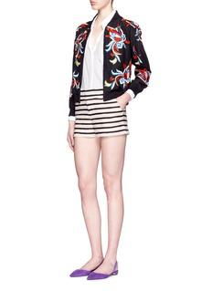 ALICE + OLIVIA'Felisa' floral bead satin bomber jacket