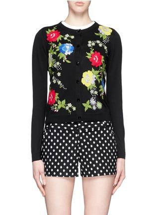 首图 - 点击放大 - ALICE + OLIVIA - 花卉刺绣纯棉针织外套