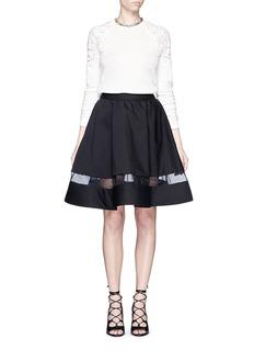 ALICE + OLIVIA'Lotus' mesh hem flare skirt