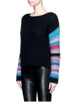 Stripe sleeve pointelle knit sweater