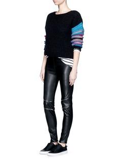 SAINT LAURENTStripe sleeve pointelle knit sweater