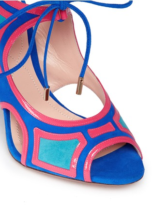 Detail View - Click To Enlarge - Nicholas Kirkwood - 'Outliner' suede patent combo cutout sandals