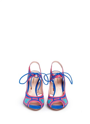 Front View - Click To Enlarge - Nicholas Kirkwood - 'Outliner' suede patent combo cutout sandals