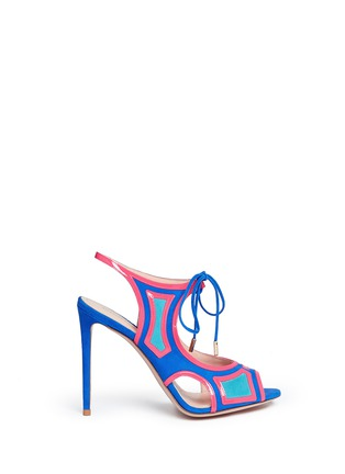 Main View - Click To Enlarge - Nicholas Kirkwood - 'Outliner' suede patent combo cutout sandals