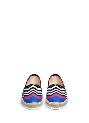 Front View - Click To Enlarge - Nicholas Kirkwood - Chevron coated canvas espadrille slip-ons